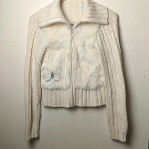 Rabbit Fur Sweater White size large
